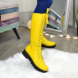 Стильные женские сапоги на шнуровке, натуральная кожа желтого цвета
