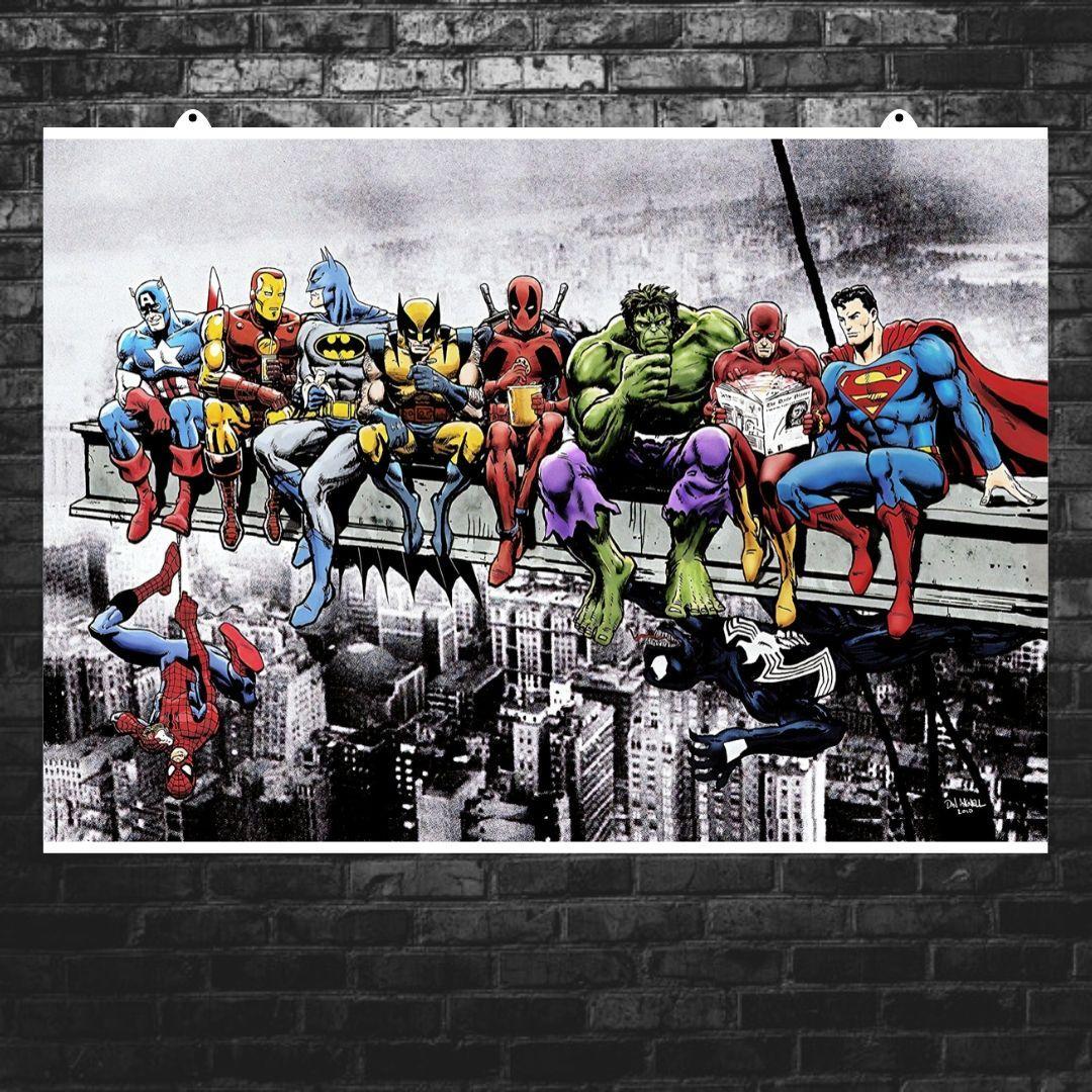 "Постер ""Завтрак супергероев"", Breakfast of Champions, Марвел, Мстители. Размер 60x43см (A2). Глянцевая бумага"