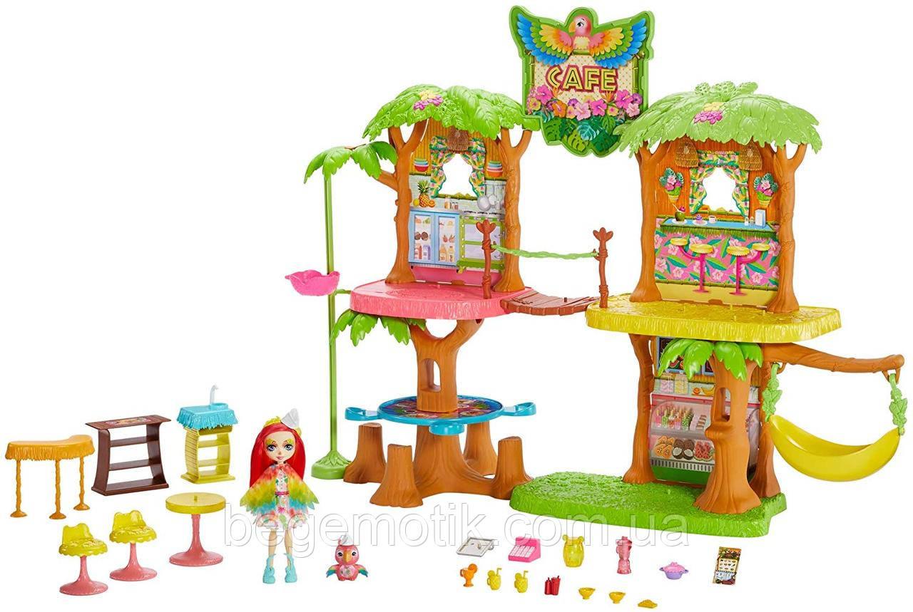 Игровой набор Дом Enchantimals Junglewood Café Тропическое кафе Энчантималс с попугаем какаду Пикки (GFN59)