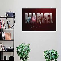 "Постер ""Логотип Марвел с текстурой"", Marvel. Размер 60x40см (A2). Глянцевая бумага, фото 3"