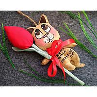 Ароматизированный котик с текстильным тюльпаном. Ручная работа. Оригинальный подарок.