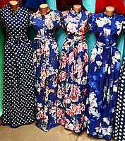 Женское летнее длинное платье, ткань софт, лиф на пуговицах, р.44-46, 48-50, 52-54, 56-58, 62-64 четыре цвета