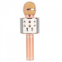 Беспроводной Микрофон караоке + Колонка WSTER WS858 Original Gold с изменением голоса и русской инструкцией