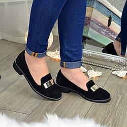 Туфли женские замшевые на низком ходу, декорированы фурнитурой