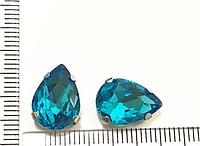 Страз Крапля, В металевих цапах + Скляний страз, Пришивной, Колір: Блакитний,10 мм x 14 мм