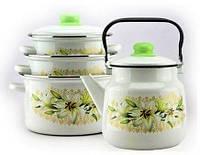 Набор посуды эмалированной (кастрюли с крышками и чайник) для всех видов плит «Белая Лилия» Эмаль