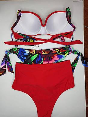 Купальник с высокой талией и бразилиана Sisianna 98204 красный на 44 46 48 50 52 размер, фото 2