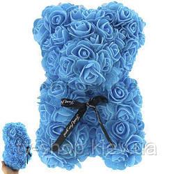 Мишка из роз,25 см (голубой)
