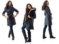 """Женское стильное стёганное пальто на синтепоне """"Подкладка Лео Пуговицы"""""""