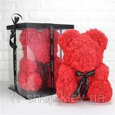 Мишка из роз,25 см (красный)