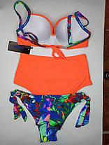 Купальник с высокой талией и бразилиана Sisianna 98204 оранжевый 44 46 48 50 52 размер, фото 2