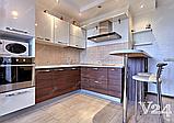 Угловая кухня под заказ изготовление по индивидуалному проекту с контрасными мдф-фасадами, фото 7
