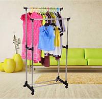 Вешалка стойка для одежды напольная двойная телескопическая на колесиках  WOW Double Pole Clothes Horse Черна