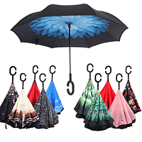 Умный зонт , антизонт или зонт-наоборот , зонт обратного сложения up-brella цветки, фото 1