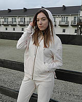 Женская кофта с капюшоном на замке.Женская одежда .Кофта молодежная.Турция XS-L(42-50) молочно-белый оверсайс