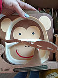 Детский набор посуды из бамбукового волокна 5 предметов, фото 4