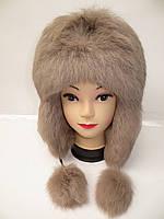 Молодежная женская шапка ушанка (мех кролика)