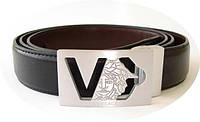 Ремень Versace черный кожаный