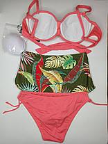 Купальник бандо с высокой талией и плавками на завязках Sisianna 91009 коралловый 42 44 46 48 50 размер, фото 3