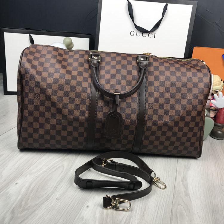 Кожаная дорожная сумка Louis Vuitton коричневая натуральная кожа Люкс Качество Модная сумка Луи Виттон реплика