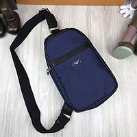 Кожаная сумка бананка Armani Jeans синяя сумка через плечо натуральная кожа Модный слинг Армани Джинс реплика