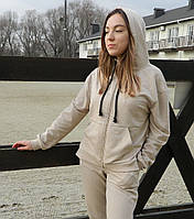 Женская кофта с капюшоном на замке.Женская одежда .Кофта молодежная.Турция  XS-L(42-50)светлый беж  оверсайс