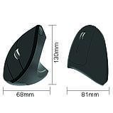 Мышь беспроводная Cliry вертикальная эргономичная (1600 DPI) USB 2.4 G wireless, Black, фото 4