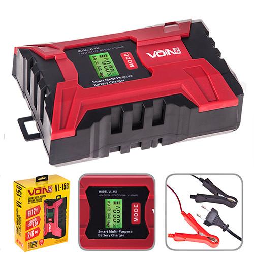 Автомобильное Зарядное устройство для аккумулятора VOIN  6-12V /2.0-6.0A/3-150AHR Импульсное