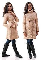 """Женское короткое стёганное пальто на синтепоне """"Ворот Стойка Кнопки"""""""