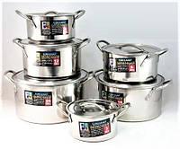 Набор посуды кастрюли с крышками из нержавеющей стали 12 предметов «Селло» Empire (нержавейка)
