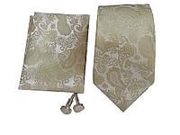 """Набор подарочный: галстук 8 см запонки платок """"Пейсли"""" зеленый+бежевый GS795, фото 1"""