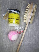 Набор щетка для массажа и кокосовый скраб дыня и бомбочка для ванны