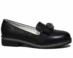 Демисезонные черные туфли Lilin на низком каблуке для девочки подростка 30, 35, 36, 37р