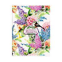 """Блокнот А5 интегральная обложка, 80 листов """"Птички и цветы"""" 1В 807"""