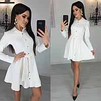 Платье женское  короткое с пышной юбкой. Размеры 42-44, 44-46 Цвета: беж, чёрный, молоко, бордо