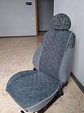 Накидки на сиденья авто из АЛЬКАНТАРЫ (искусственной замши). Серые. 2 передних, фото 2