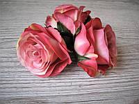 Розы из ткани (головка без листьев)  кораллово-розовая - 6 см