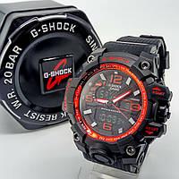 Ударопрочные, влагозащищенные, спортивные наручные часы Casio G-Shock черного цвета красный хром вставка