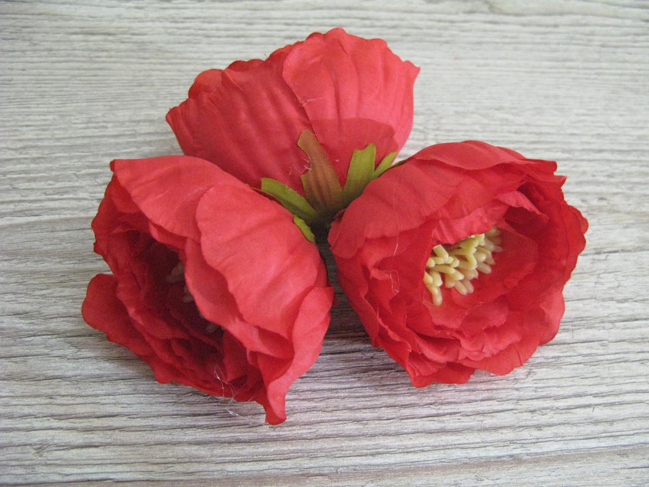 Пионы из ткани с тычинками красная - 6 см