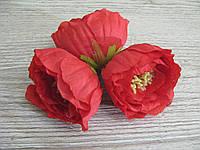 Пионы из ткани с тычинками красная - 6 см, фото 1