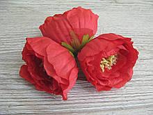 Квіти з тканини з тичинками червона - 6 см