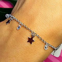 Серебряный браслет со звездами - Браслет минимализм Звезда серебро