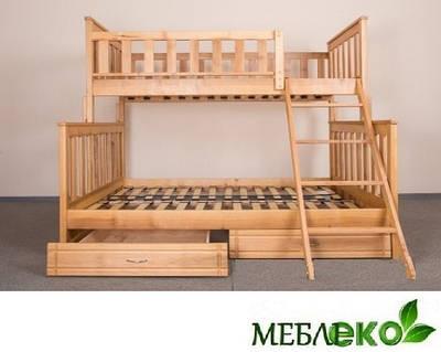 """Детская двухъярусная кровать """"Фиона"""" из натурального дерева."""