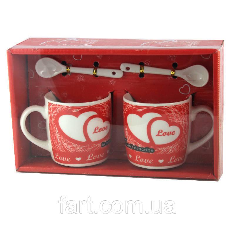 Подарочный набор из 2х чашек и ложек Love