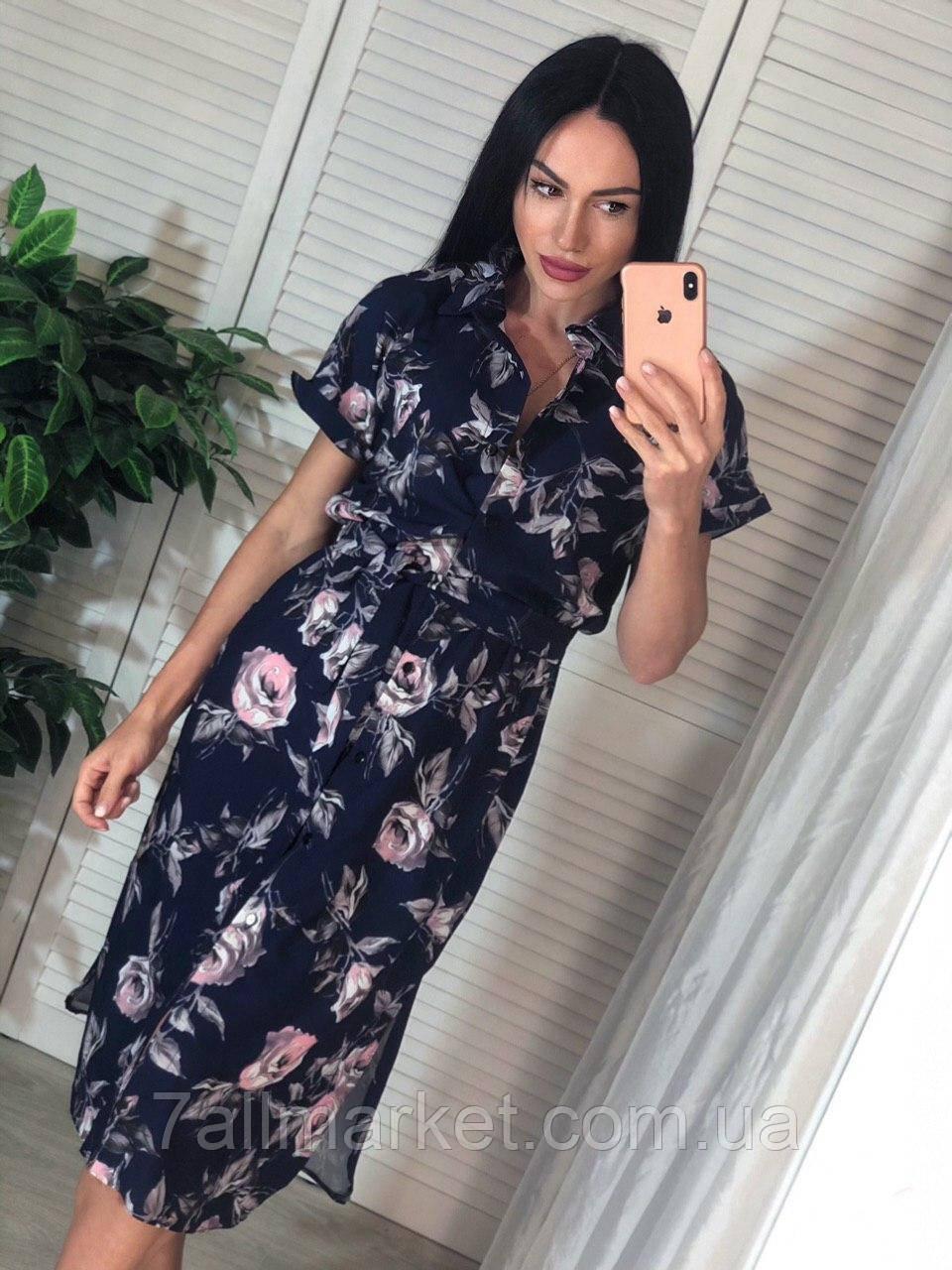 """Платье-рубашка женское с цветочным принтом, размер S-M (3цв)""""MARGARET"""" купить недорого от прямого поставщика"""