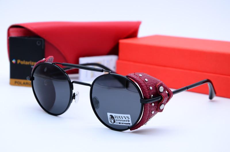 Солнцезащитные круглые очки унисекс Havs 68015 черн красн