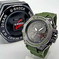 Спортивные наручные часы Casio G-Shock зеленого цвета металл черный ударопрочные влагозащищенные