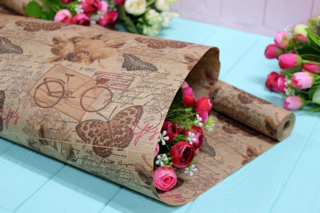 Двухсторонняя крафт бумага для цветов и подарков 70см*10м №1024БР 2-СТ