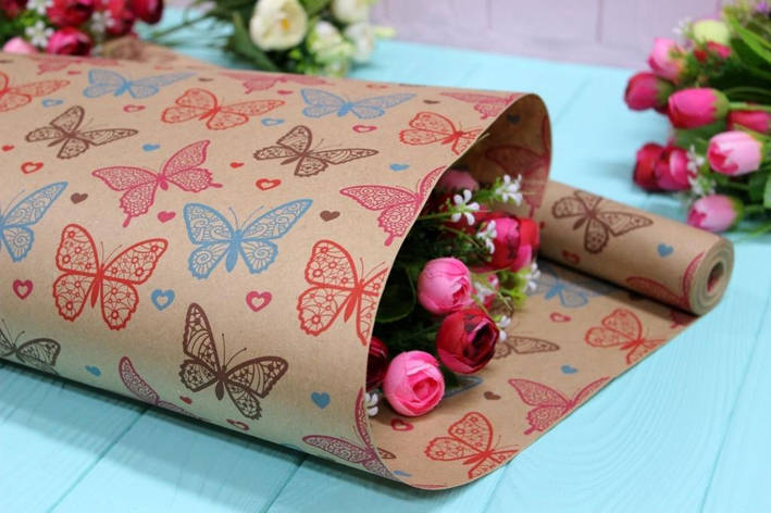 Двухсторонняя крафт бумага для цветов и подарков 70см*10м №1026БР 2-СТ, фото 2