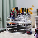 Настольный ящик органайзер для хранения косметики, косметик бокс с зеркалом JN-870, фото 5